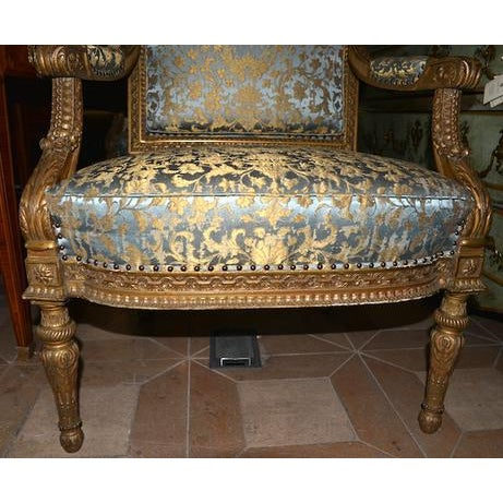 French 19th C. French Giltwood Armchairs For Sale - Image 3 of 5