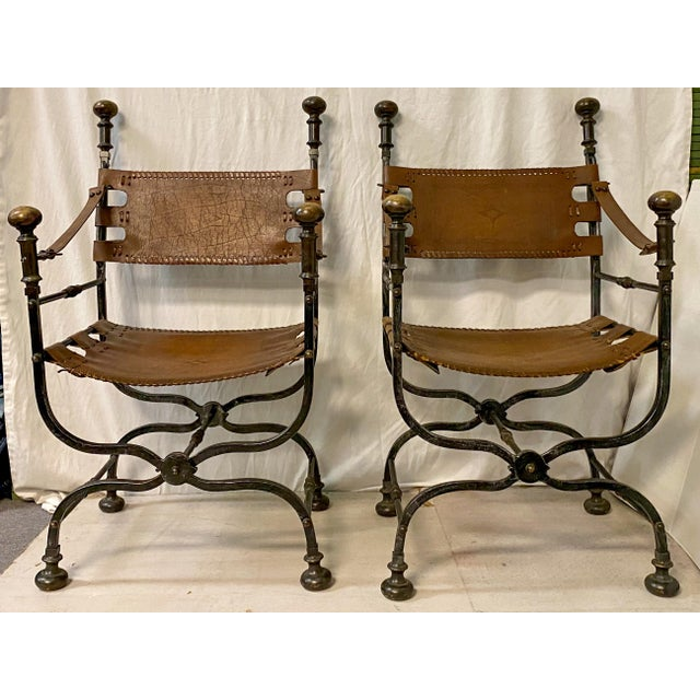 Pair of Italian Leather and Iron Campaign Style Chairs For Sale - Image 4 of 5