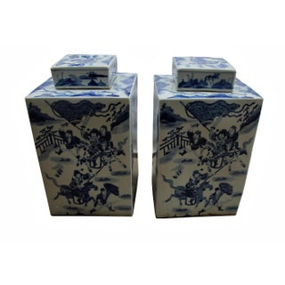Chinese Blue and White Porcelain Square Tea Jar Preview