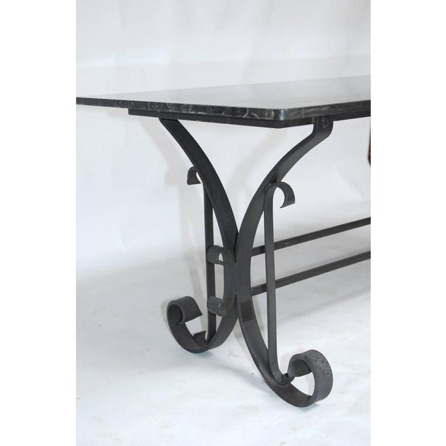 Italian Wrought Iron and Black Marble Dining Table For Sale - Image 4 of 10