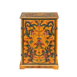 Chinese Distressed Yellow Dragon Graphic Small Side Table Cabinet For Sale