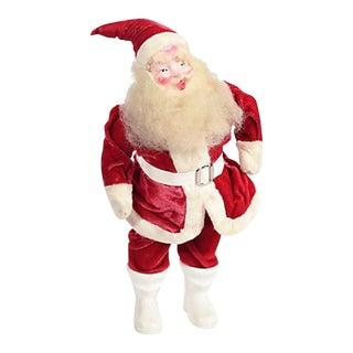 Large 1940s Santa Figure W Velvet Suit For Sale