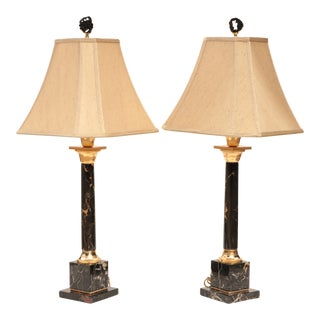 Portoro Black Marble Table Lamps - A Pair For Sale