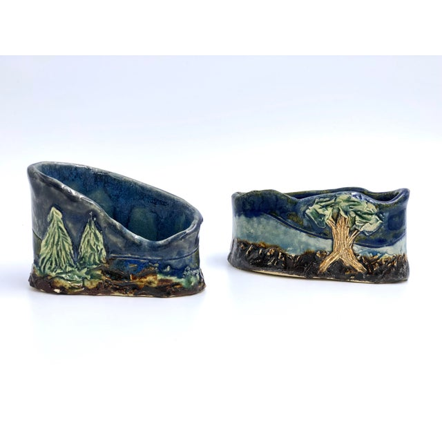 Ceramic Handmade Ceramic Business Card Holders With Painted and Textured Landscapes - a Pair For Sale - Image 7 of 9