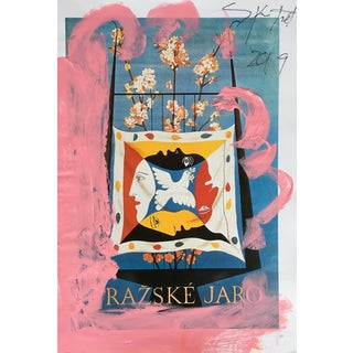 Abstract Framed Picasso Poster Painting by Sean Kratzert 'Flowers' For Sale