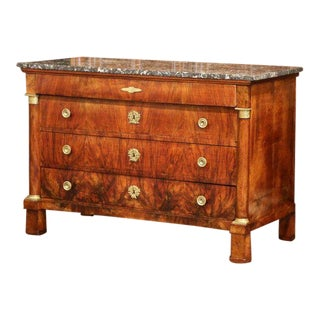 19th Century French Empire Walnut Four-Drawer Commode With Black & White Marble For Sale