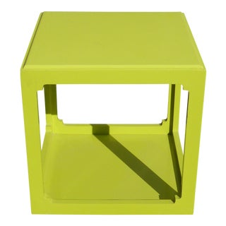 Vintage Contemporary Style Square Lime Green Plastic Side Table For Sale