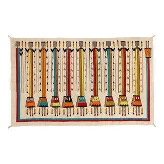 """1970s Vintage Navajo Pictorial Yei Rug-4'8"""" X 7'8"""" For Sale"""