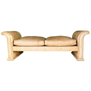 1970s Vintage Marzio Cecchi Rare Leather Loveseat or Daybed For Sale