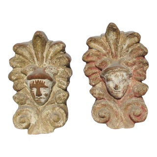 Old Greek Ceramic Acroterion Face of Hermes - a Pair For Sale
