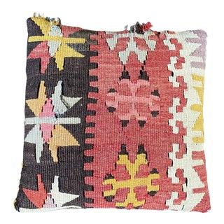 "Vintage Turkish Kilim Rug Pillow - 13x13"" For Sale"