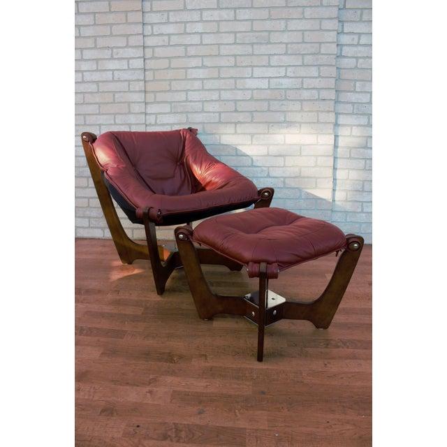 Vintage Mid Century Modern Odd Knutsen Luna Lounge Chair and Ottoman in Original Leather - 2 Piece Set Circa 1970 Chair H...