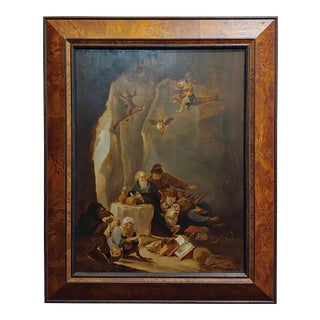 """David Teniers the Younger """"Flemish"""" The Temptation of St. Anthony Oil Painting C. 1680s For Sale"""