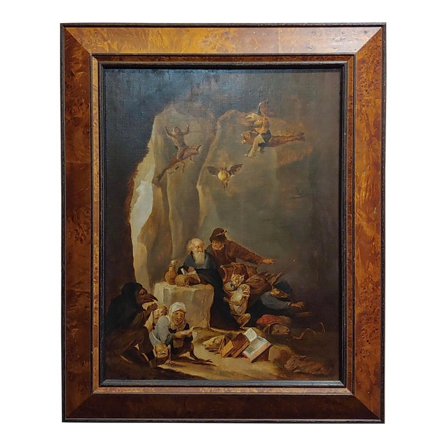 David Teniers the Younger-Flemish-The Temptation of St. Anthony-Oil Painting-C1680s For Sale