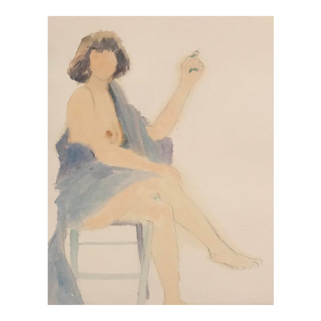 1980s Seated Female Nude Watercolor Painting For Sale