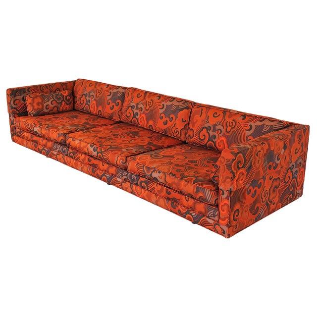 "Harvey Probber Tuxedo Sofa with Jack Lenor Larson ""Happiness"" Upholstery For Sale"