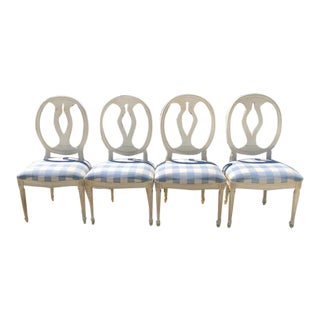 Ethan Allen White Round Back Dining Chairs - Set of 4 For Sale