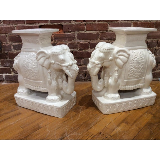 Off-white Vintage White Glazed Pottery Elephant Tables/Stands - a Pair For Sale - Image 8 of 8