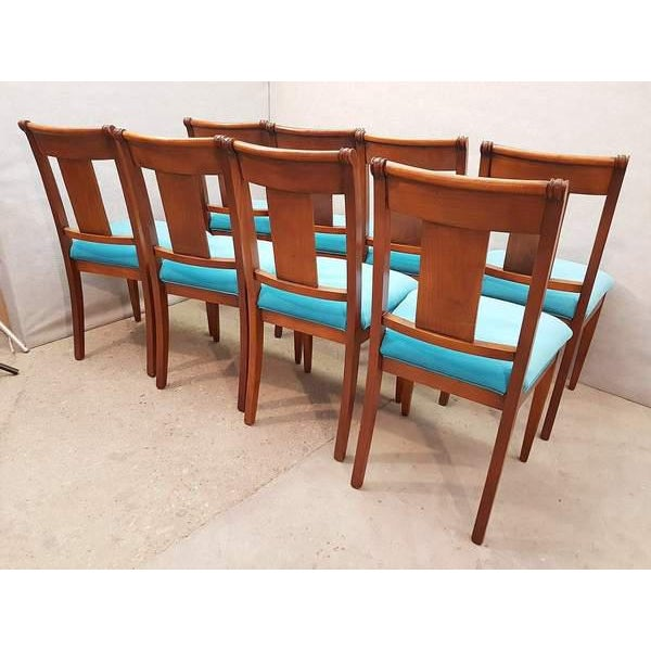 Set of Eight Antique French Cherry Reupholstered in Turquoise Baby Blue  Dining Chairs For Sale - - Set Of Eight Antique French Cherry Reupholstered In Turquoise Baby