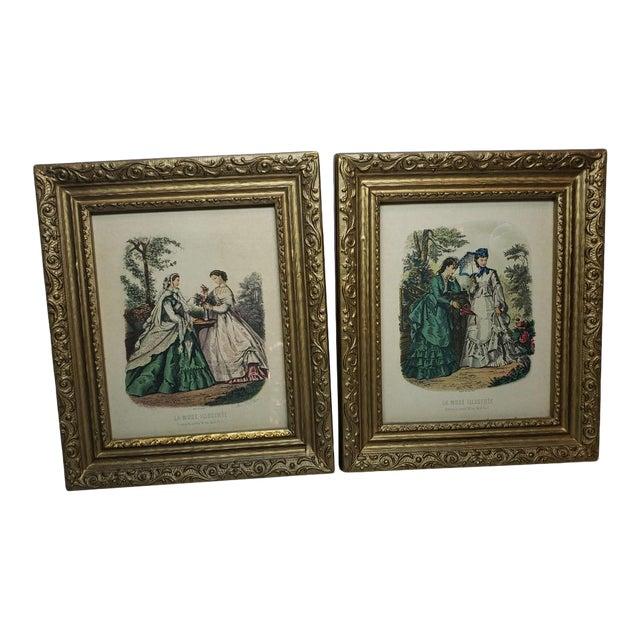 Vintage Antique Wood Framed Paris France Fashion Advertisements - a Pair For Sale