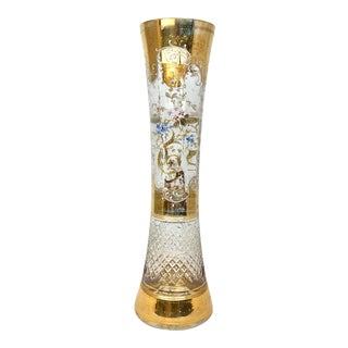 Late 20th Century Gilded Cut Glass Vase For Sale