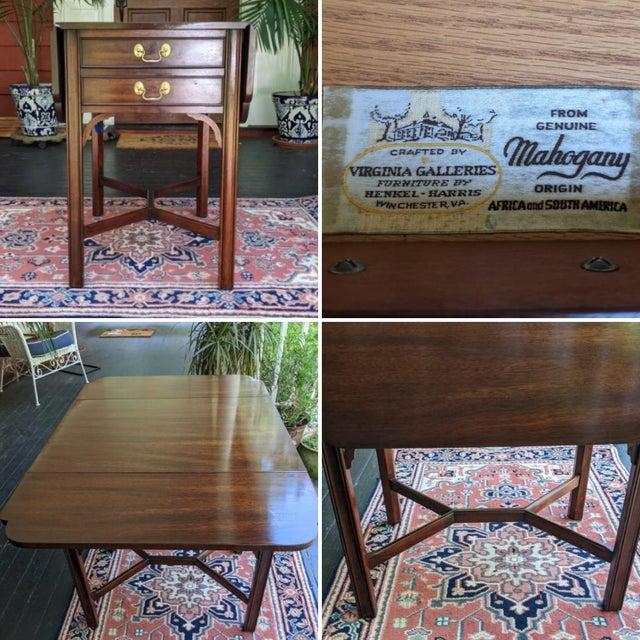 ON SALE! $795! Classic, vintage, drop leaf, mahogany side table by Henkel-Harris Virginia Galleries. Fretwork cross bar...