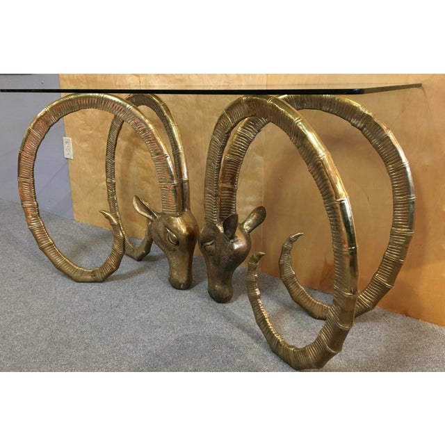 20th Century Hollywood Regency Ibex Rams Head Console Table For Sale In Portland, OR - Image 6 of 9