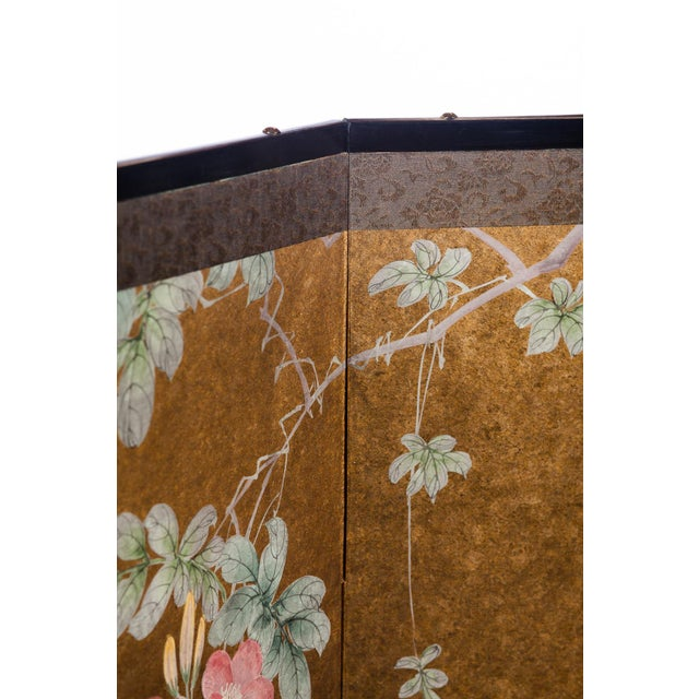 """""""Sparrows With Cherry Blossom"""" 4-Panel Paint on Gold Foil Chinoiserie Hanging Screen For Sale - Image 9 of 11"""