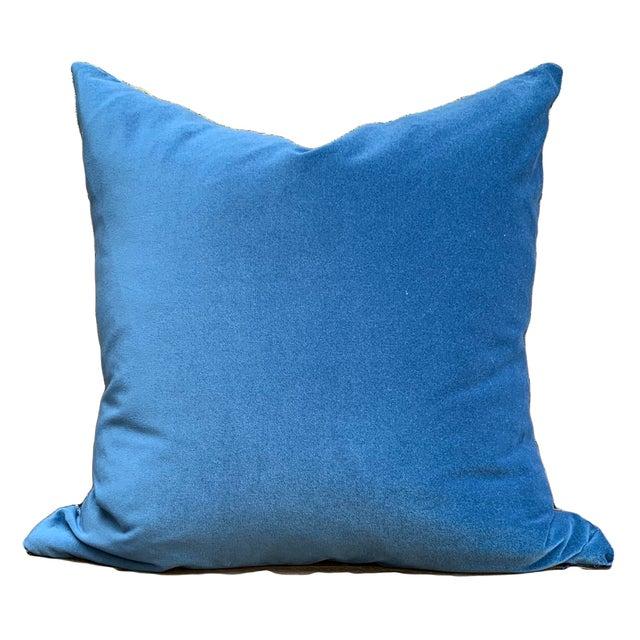 Boho Chic Grunge Denim and Blue Velvet Pillows - a Pair For Sale - Image 4 of 7