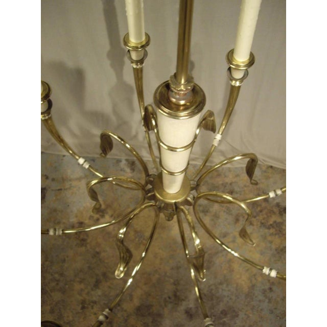 Vintage French Brass 8-Light Chandelier For Sale - Image 4 of 8