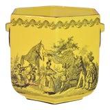 Image of Vintage Mottahedeh Yellow & Black Porcelain Cachepot For Sale