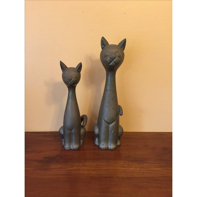 Mid Century Modern Brass Cats - A Pair - Image 3 of 10