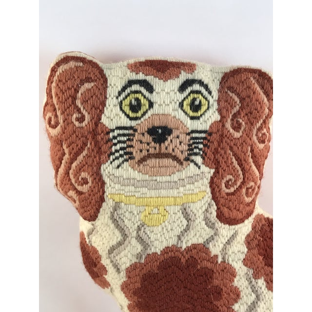 Handmade in england by Amanda Davidson. Needlework done in all wool with vatious stitches. Reverse is done in a pink moire...