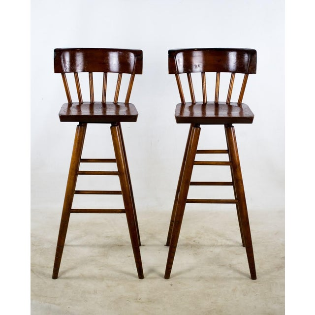 1900s English Traditional Mahogany Bar Stools - a Pair For Sale - Image 13 of 13