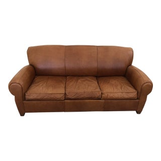 Mitchell Gold for Pottery Barn Manhattan Leather Sleeper Sofa For Sale