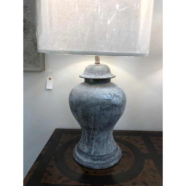 "Antique English Metal Urn Lamps. Shades are included. New wiring. Shade 15.5"" diameter."