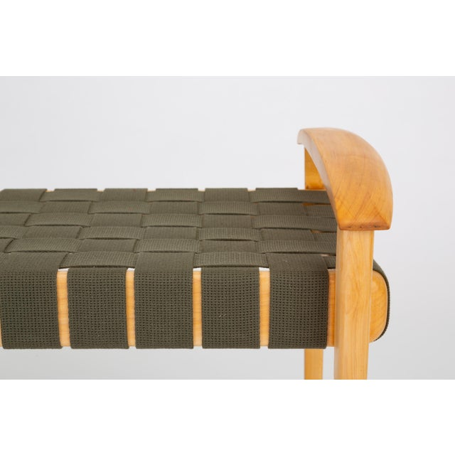 American-Made Maple Bench With Woven Seat by Tom Ghilarducci For Sale - Image 11 of 13
