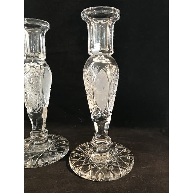 Glass Vintage Large Cut Crystal Candlesticks - a Pair For Sale - Image 7 of 8