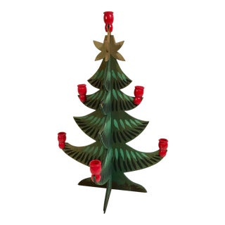 Vintage Wooden Holiday Tree With Candle Holder For Sale