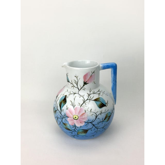 Early 20th Century 20th Century Traditional Blue & White Floral Pitcher For Sale - Image 5 of 6