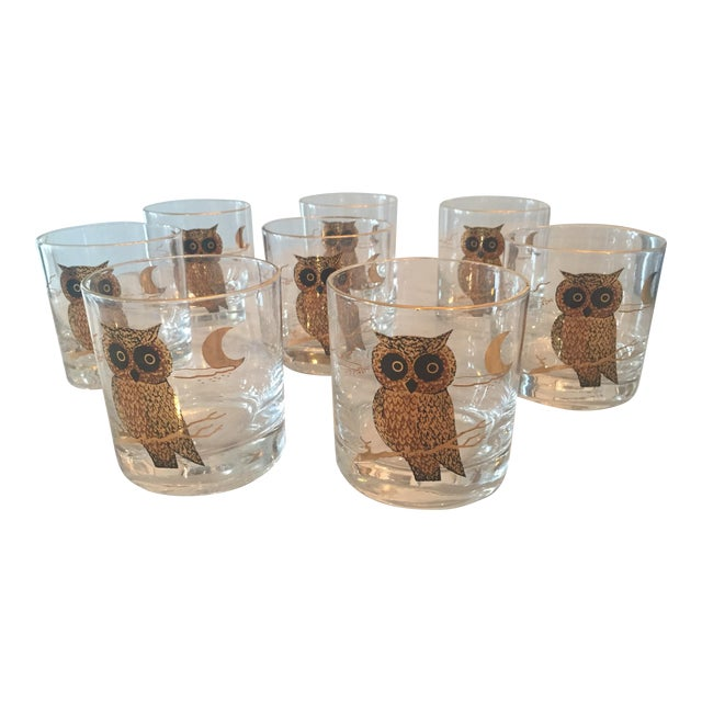 1960s Couroc of Monterey Owl Glasses - Set of 8 For Sale