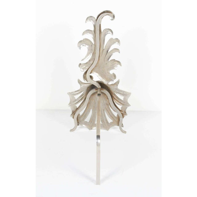 Pair of Elegant Hollywood Regency Fireplace Andirons For Sale - Image 4 of 7