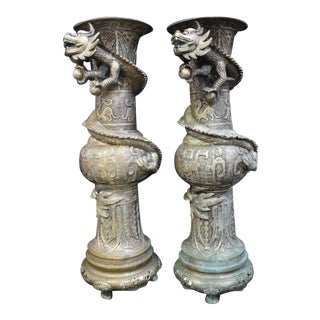 Pair of Antique 21 3/4' Bronze Chinese Dragon Vases For Sale