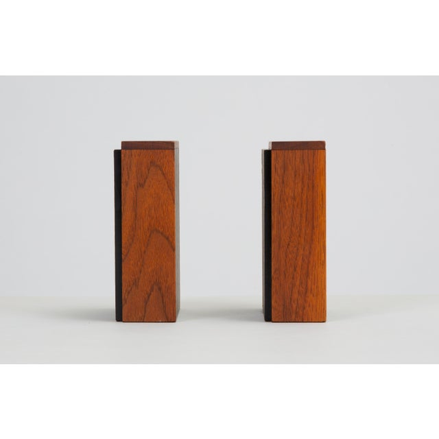 Pair of Scandinavian Modern Slate and Teak Bookends For Sale In Los Angeles - Image 6 of 11