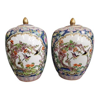 20th Century Chinese Famille Rose Melon Ginger Jars - A Pair For Sale