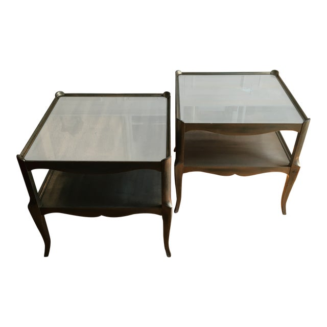Leafed Glass Top Side Tables - a Pair For Sale