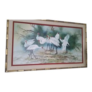 Crane Asian Bird Painting on Canvas Bamboo Frame 66 In For Sale