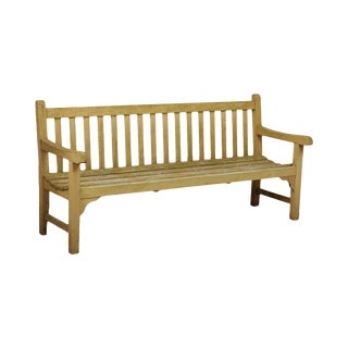 """Country Casual 72"""" Solid Teak Garden Settee Bench (A) For Sale"""