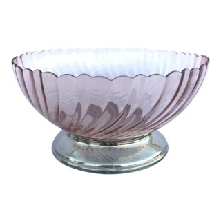 French Vintage Pink Swirl Serving Bowl