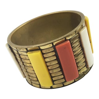Brass and Lucite Bracelet Bangle Oversized Modernist Orange Yellow White For Sale